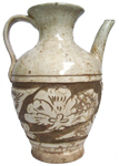 Cizhou Ewer with Floral Design - Whiteware Porcelain & Stoneware
