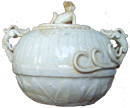 Covered Container with Dragon Handles - Whiteware Porcelain & Stoneware