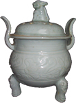Tripod Censer with Cover - Whiteware Porcelain & Stoneware