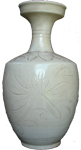 Vase with Floral Decoration - Whiteware Porcelain & Stoneware