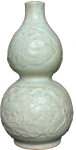 Double Gourd Vase with Floral Design - Whiteware Porcelain & Stoneware