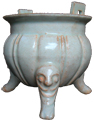 Tripod Censer with Human Masks - Whiteware Porcelain & Stoneware