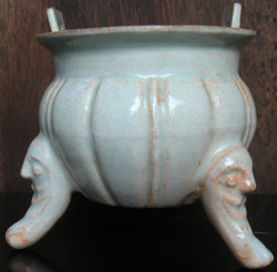 Tropod Censer with Human Masks  - Chinese Porcelain and Stoneware