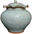 Jar with Lotus Leaf Cover - Whiteware Porcelain & Stoneware
